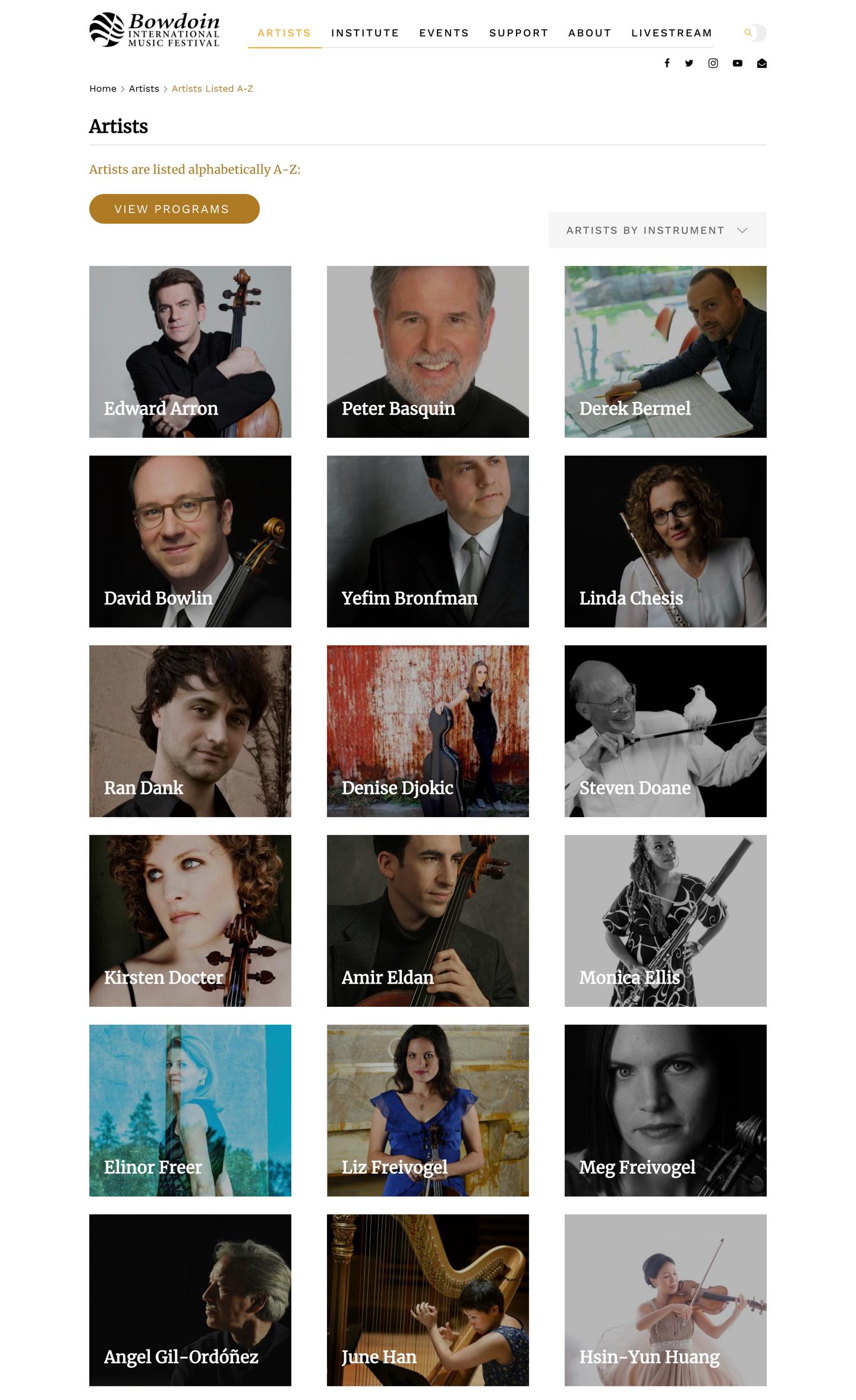 Bowdoin Festival full listing of artists
