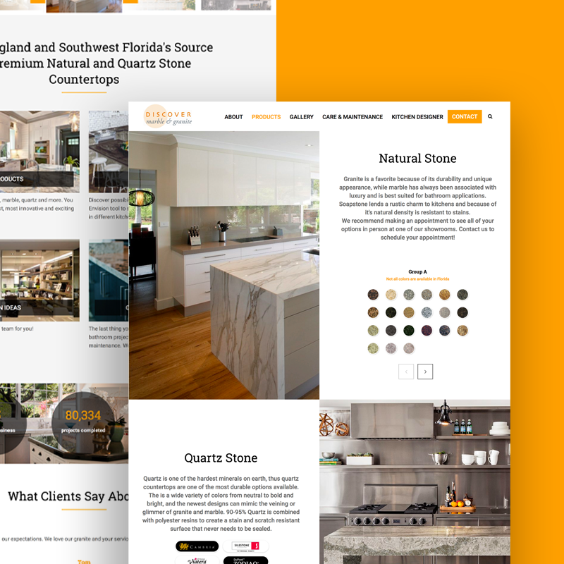 Discover Marble and Granite website screens