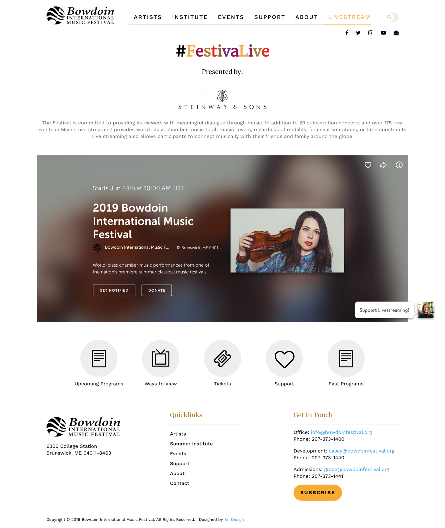 Bowdoin Music Festival live streaming page
