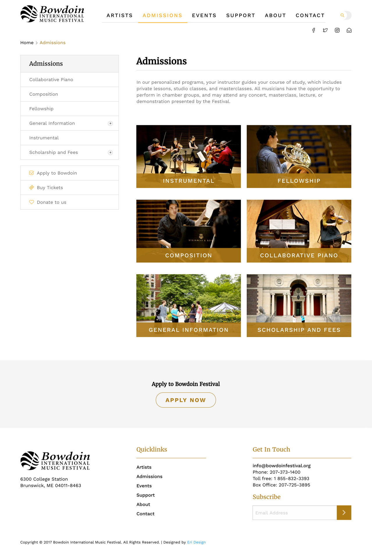 Bowdoin Admissions Page