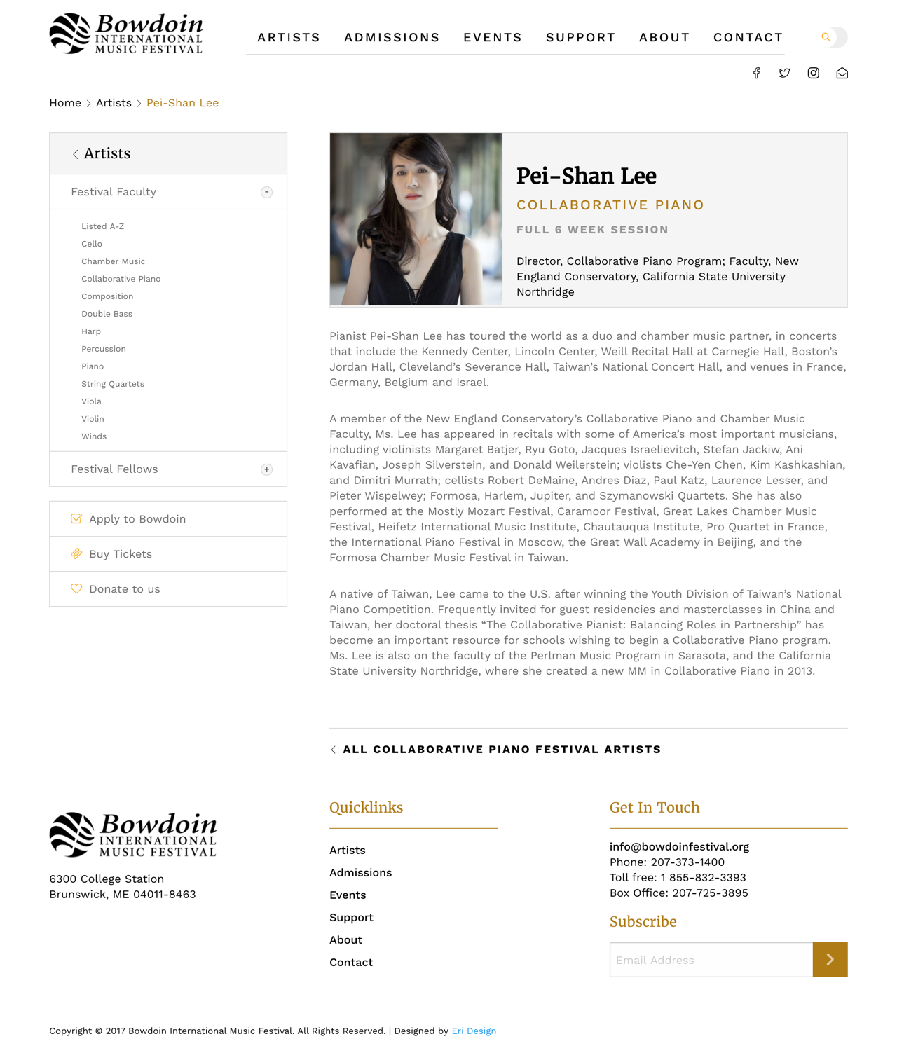 Bowdoin Individual Artist Page