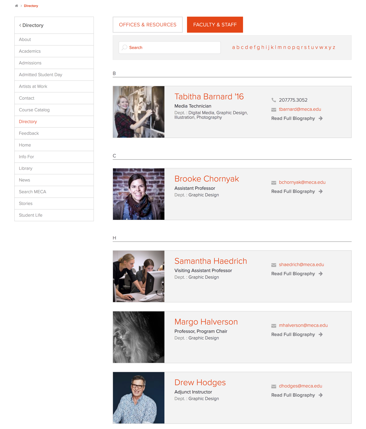 MECA Directory Page