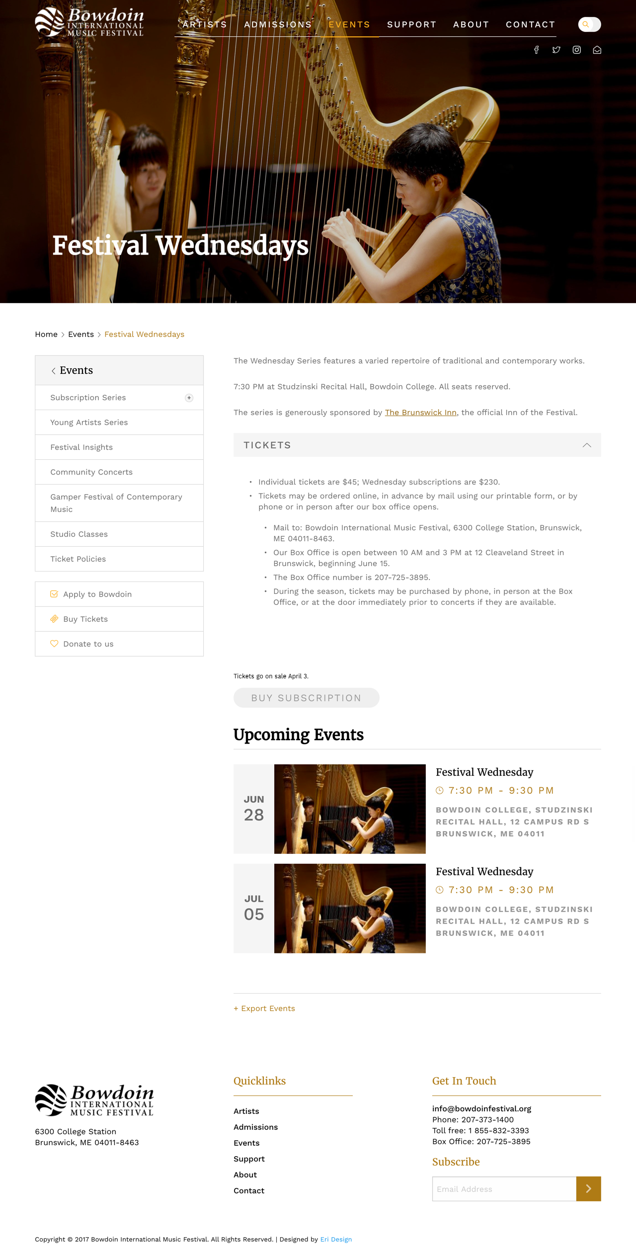 Bowdoin Festival events page