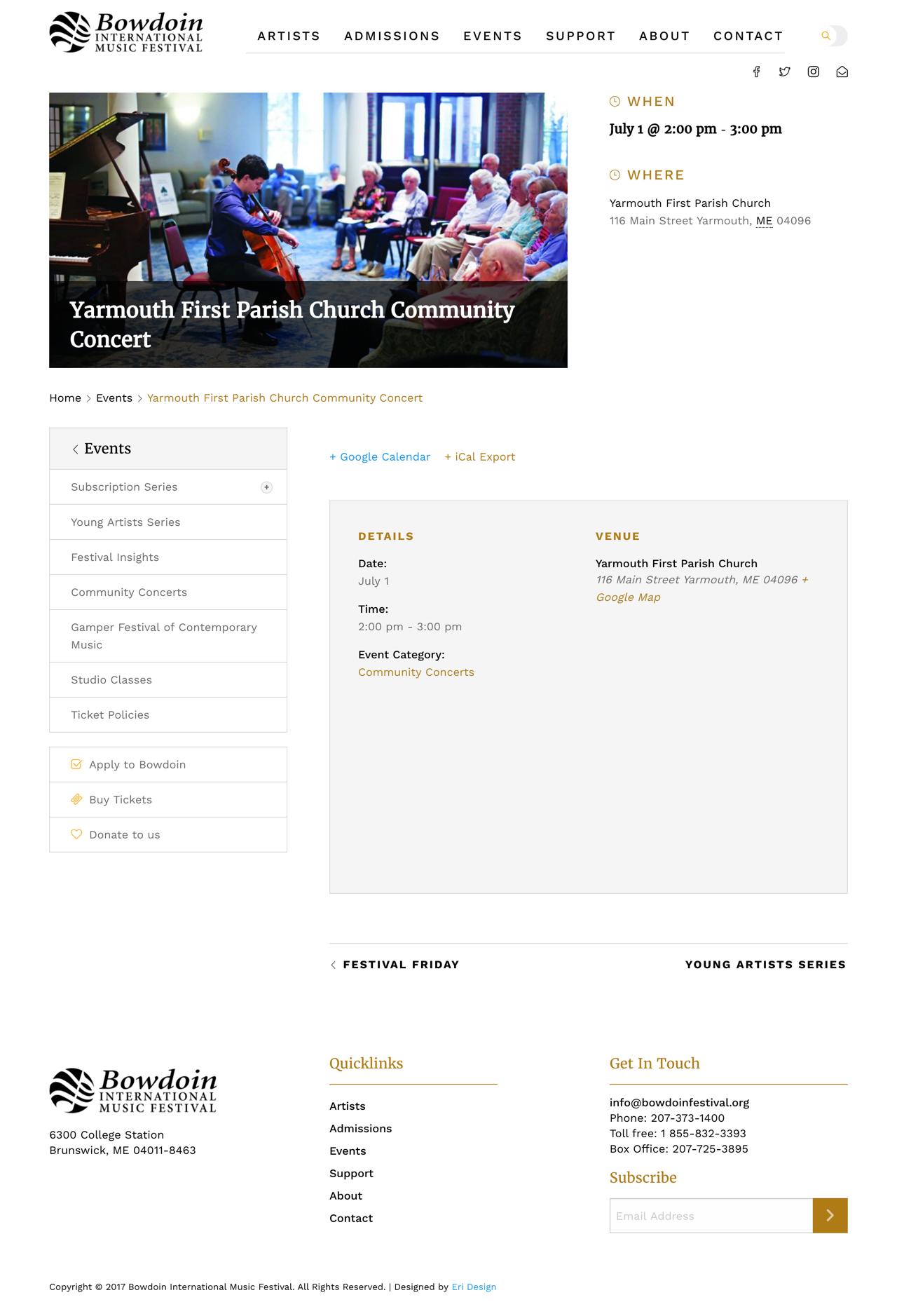Bowdoin Festival music events listing