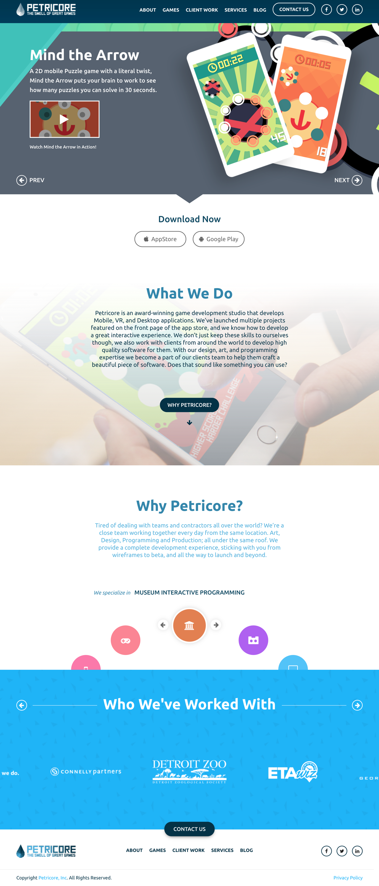 Petricore Games Full Landing Page