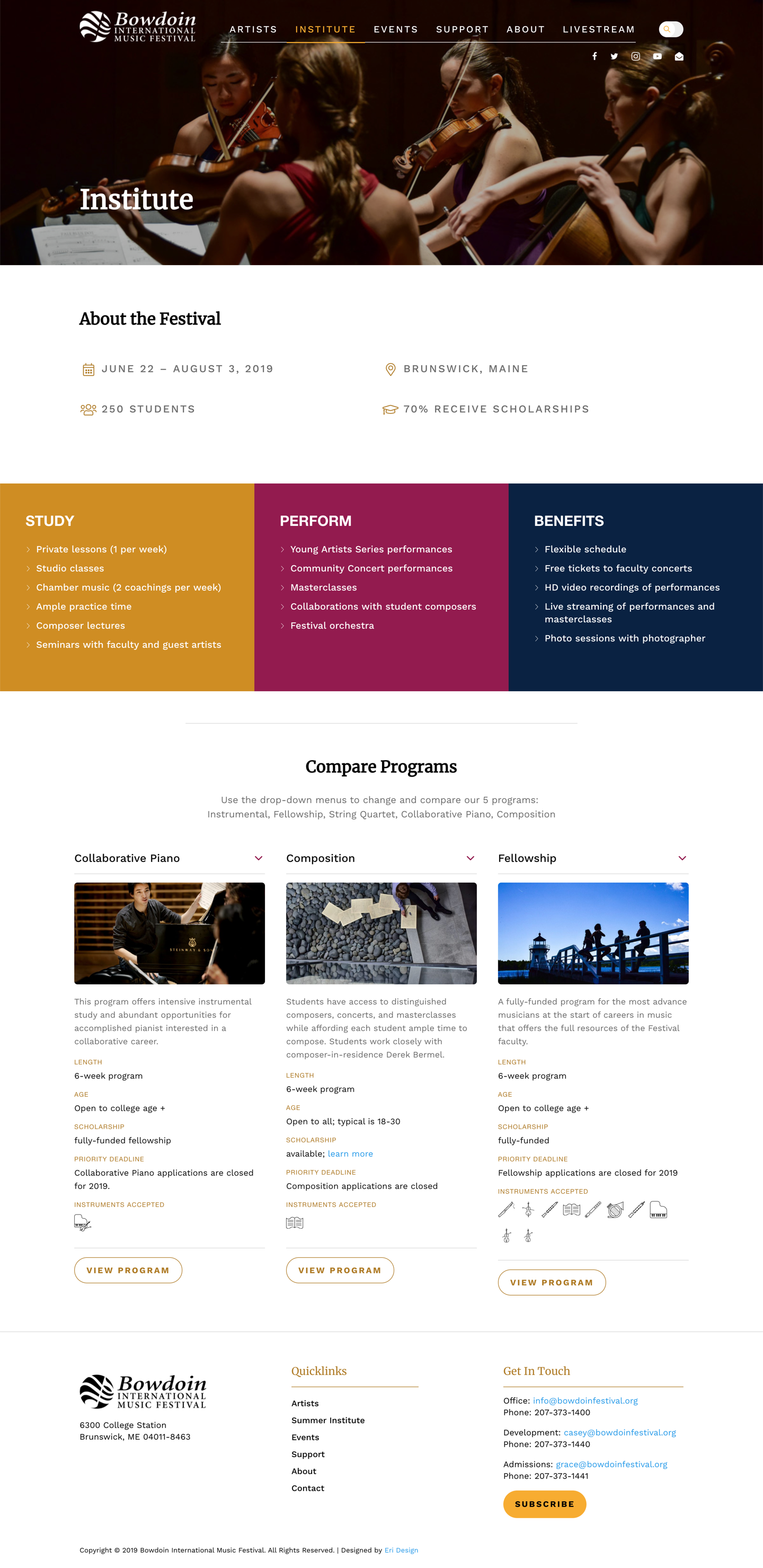 Bowdoin Festival institute landing page