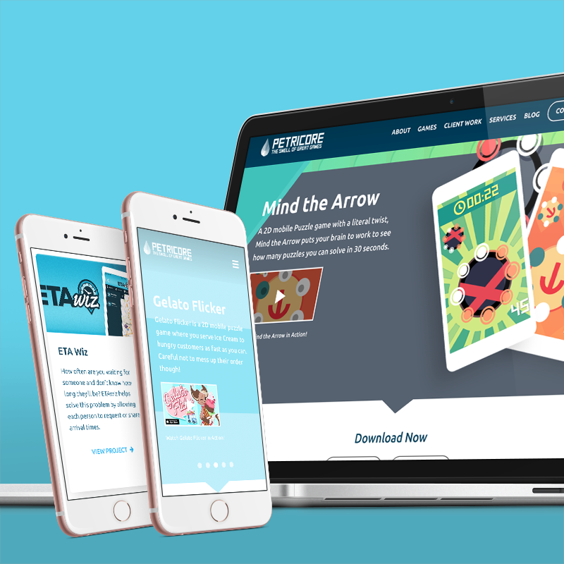 Petricore Games website on mobile and desktop devices