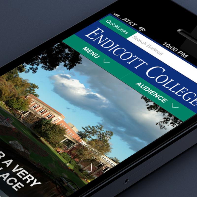 Endicott College website on mobile device