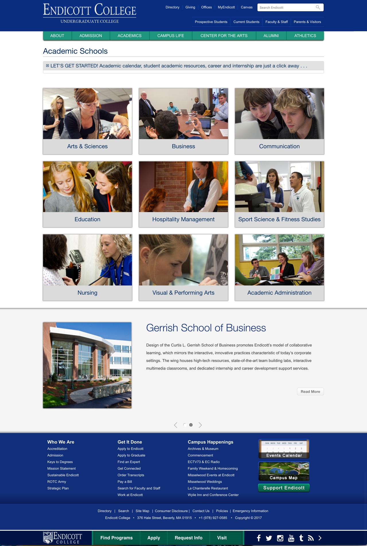 Endicott College Academics Landing Page