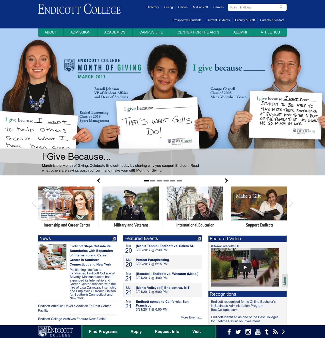 Endicott College Full Landing Page