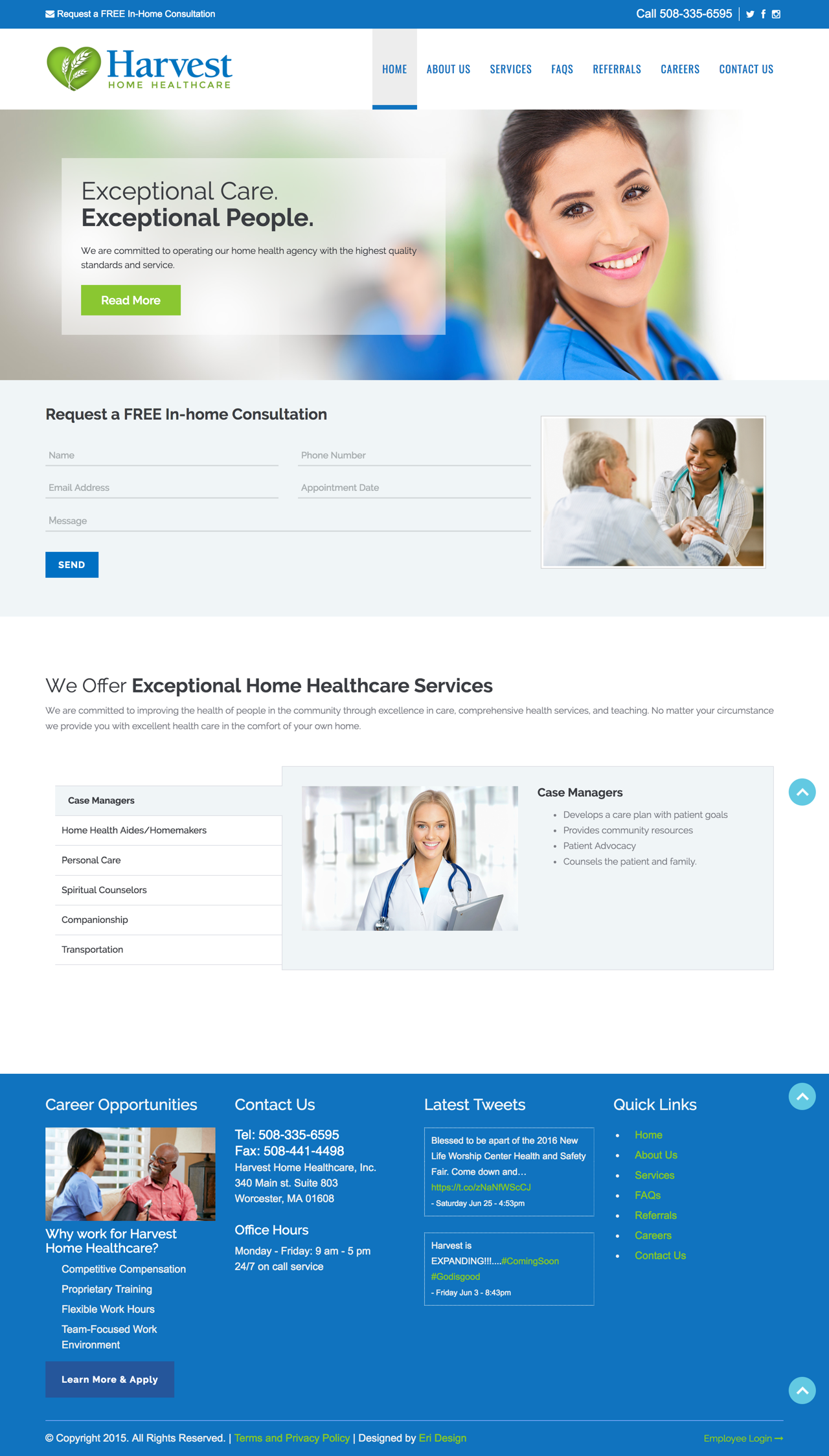 Harvest Home Healthcare Landing Page