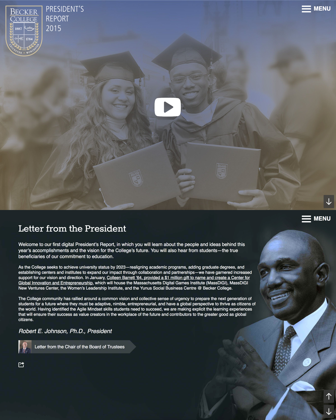 President's Report landing page