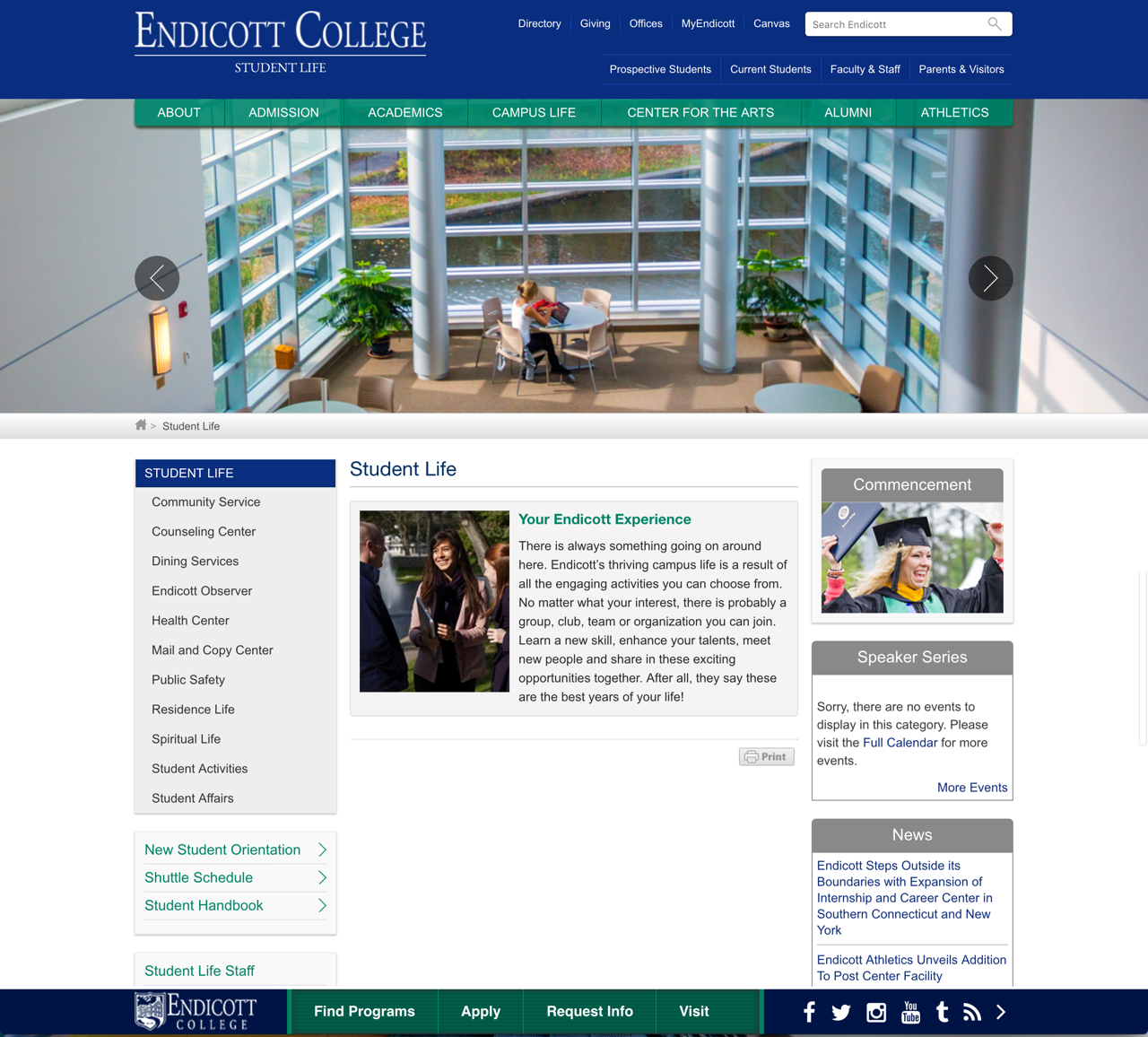 Endicott College Student Life Landing Page