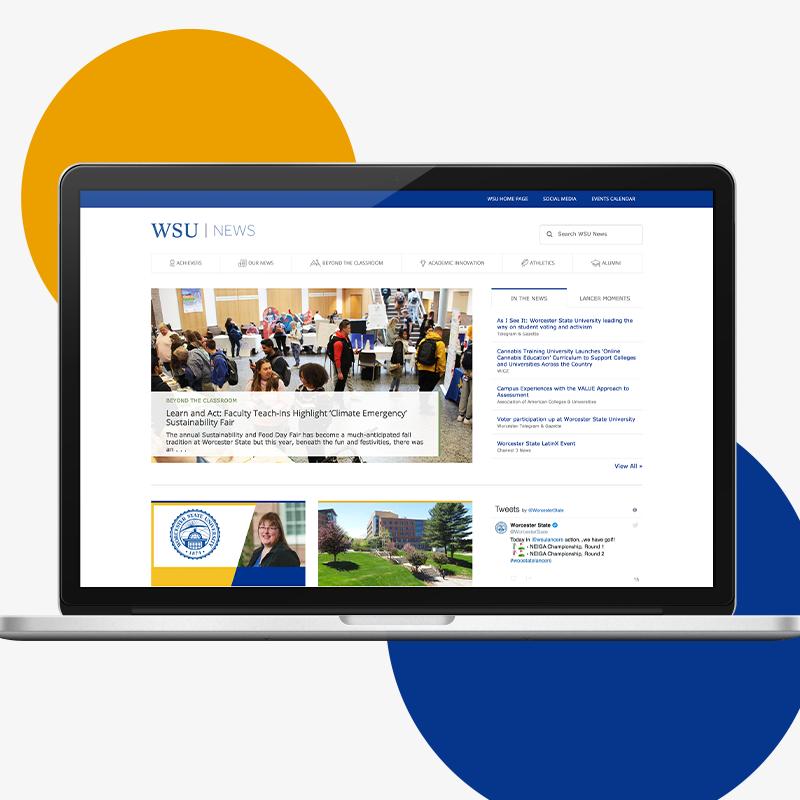 WSU News website design on laptop