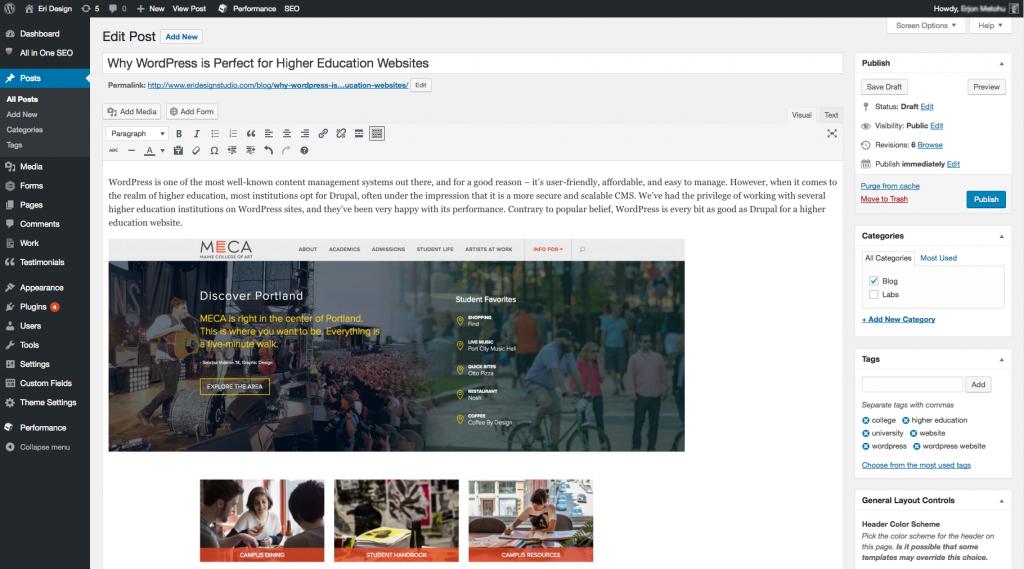 Wordpress Backend Post Editor