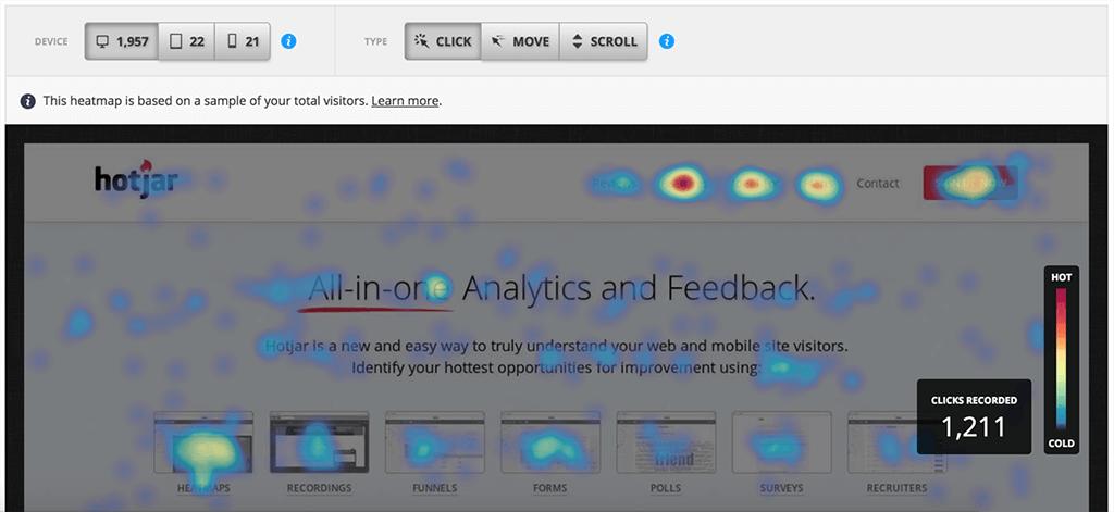 Screenshot of Hotjar Heatmap