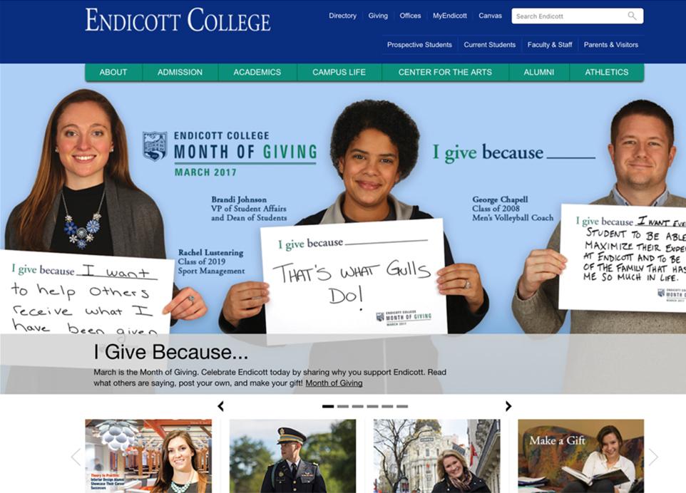 Endicott College website redesign