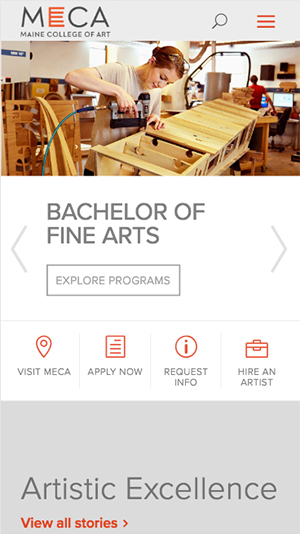 Maine College of Arts website on mobile device