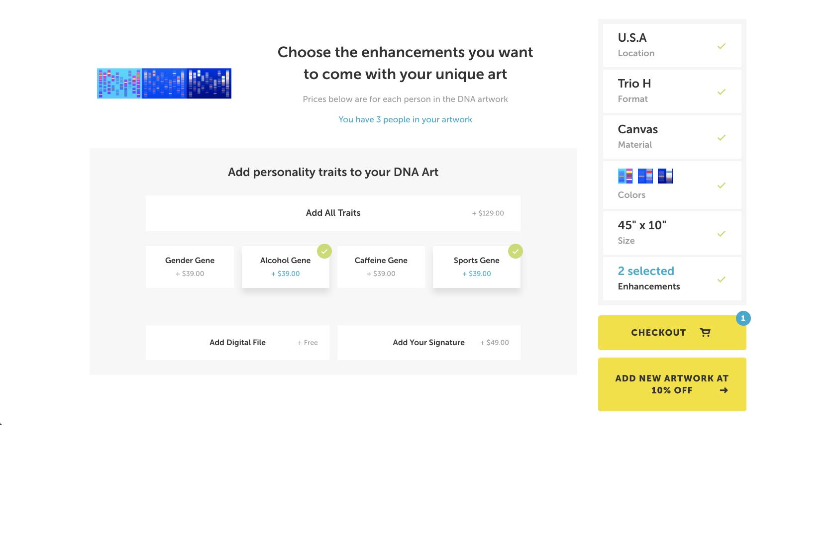 DNA Art US checkout screen