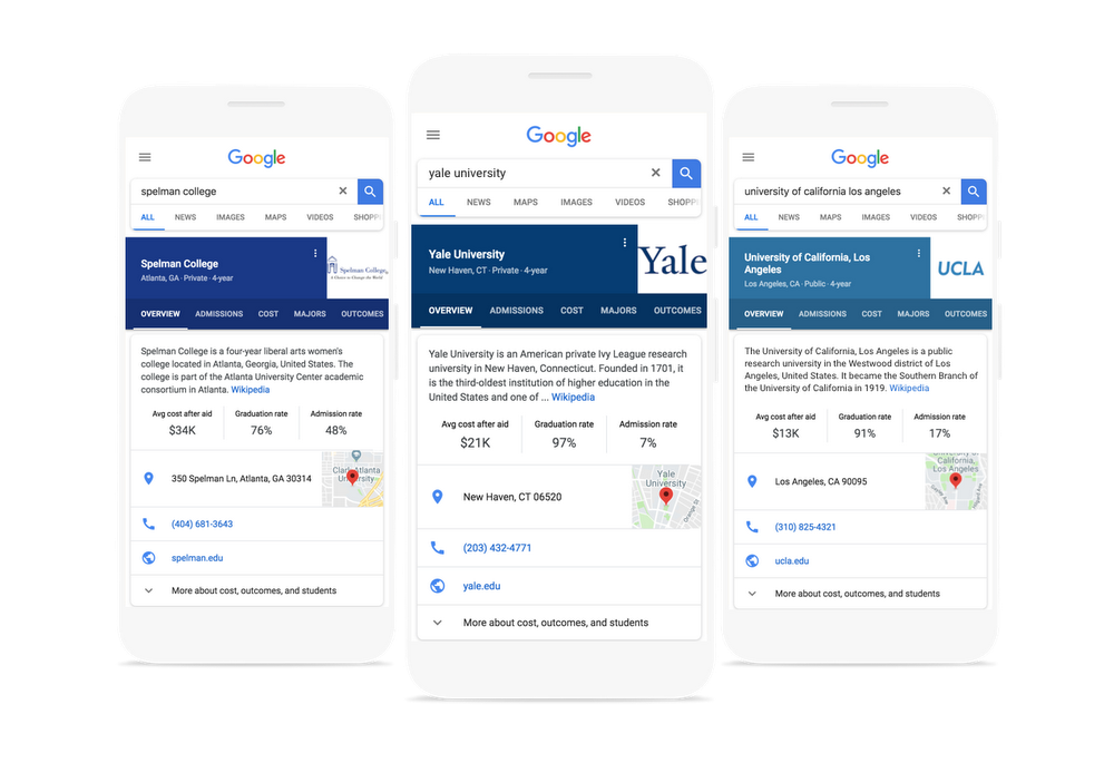 Google's college search feature