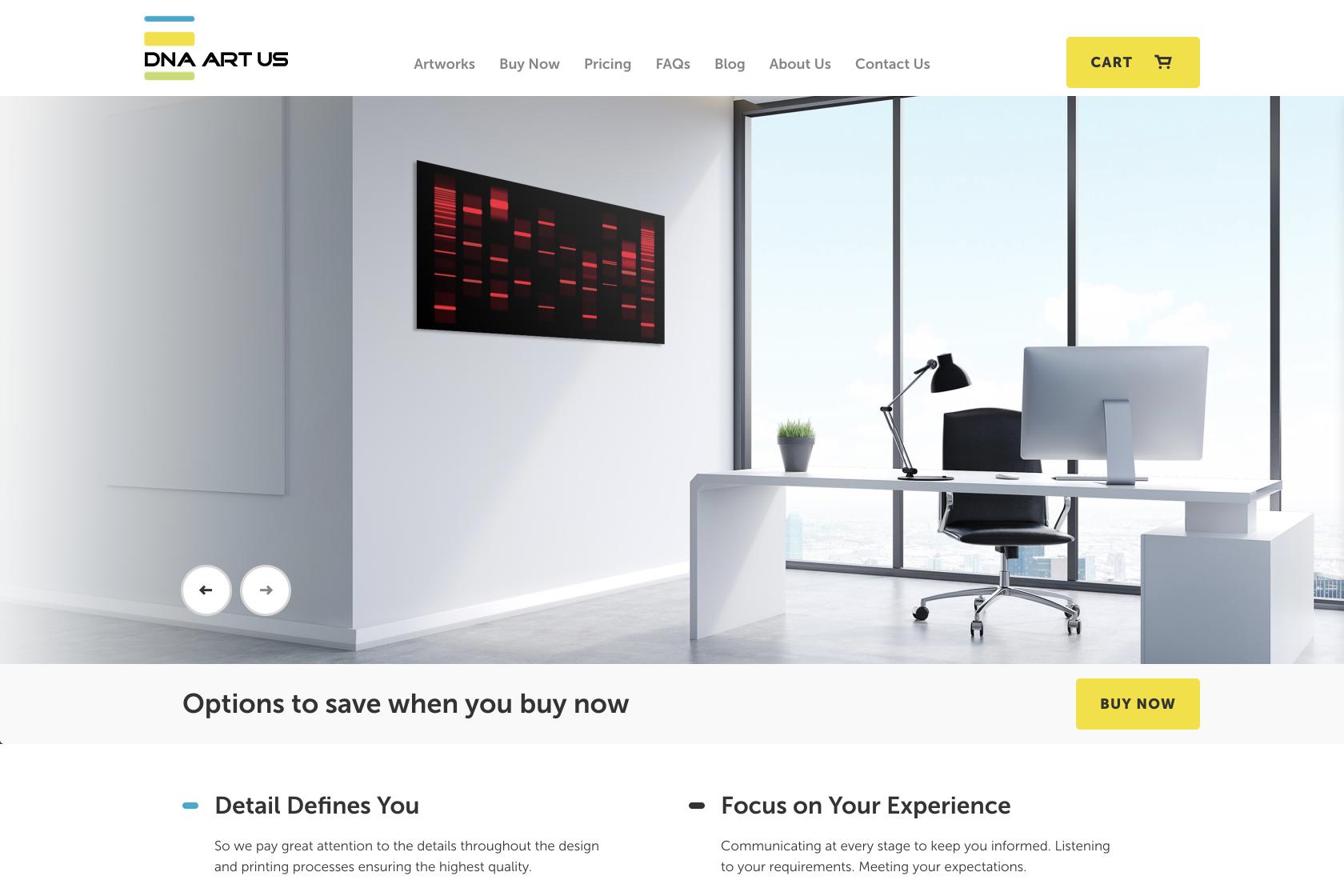DNA Art US homepage design on desktop