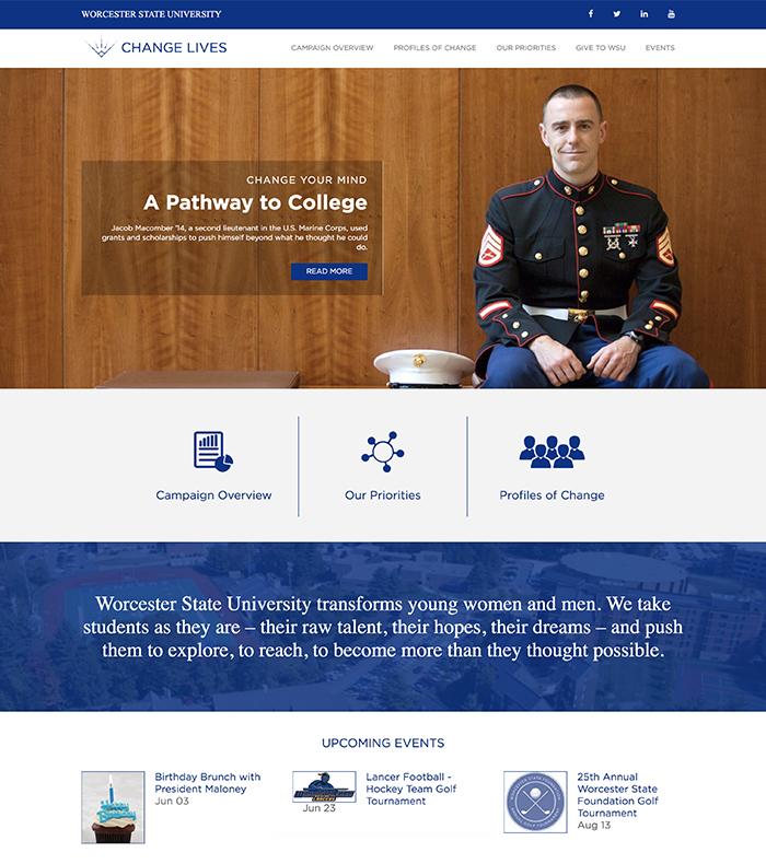 WSU Change Lives landing page website design