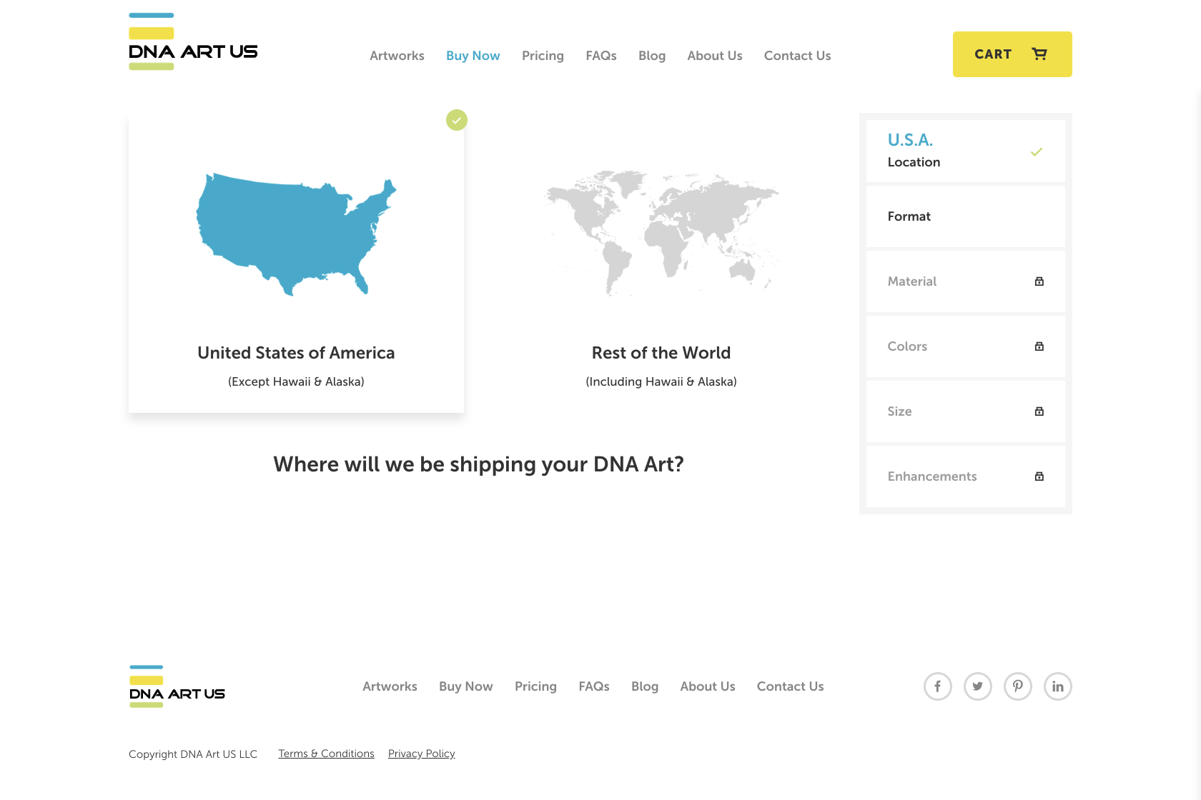 DNA Art US buy now process, location selector