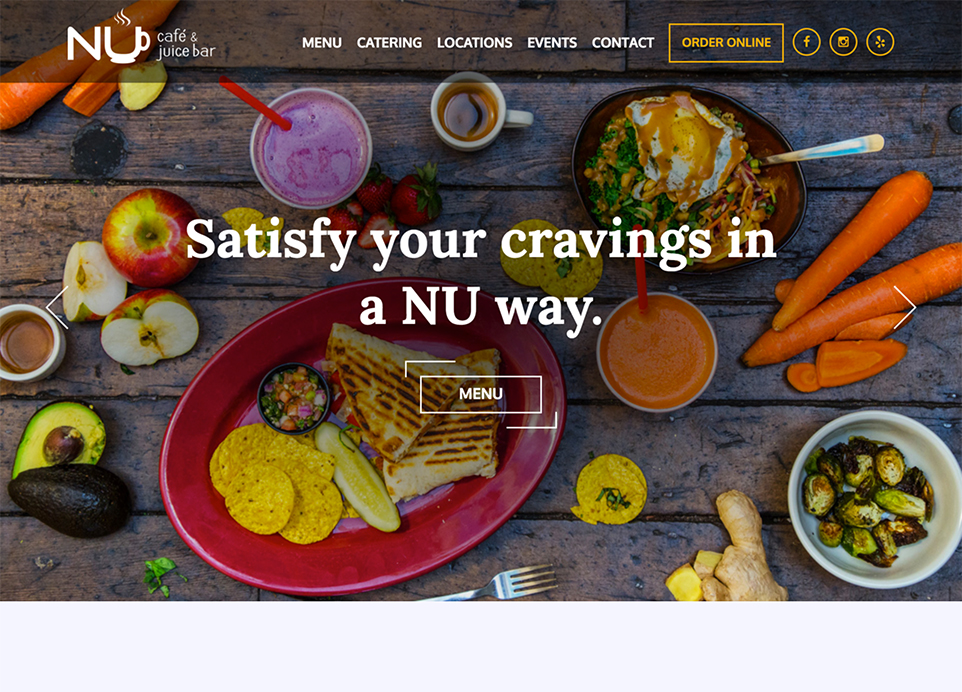 NU Kitchen (previously NU Cafe) homepage design