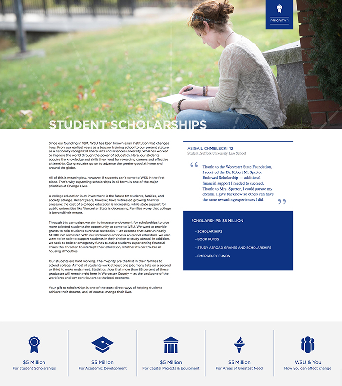 Scholarships page design for WSU Change Lives