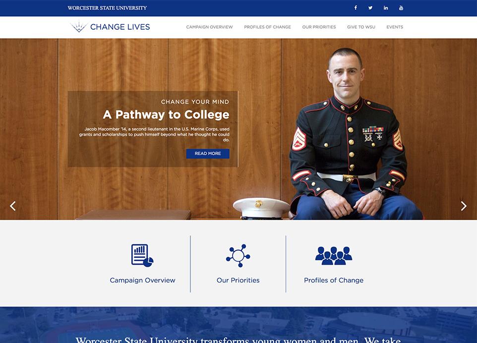 WSU Change Lives page website design