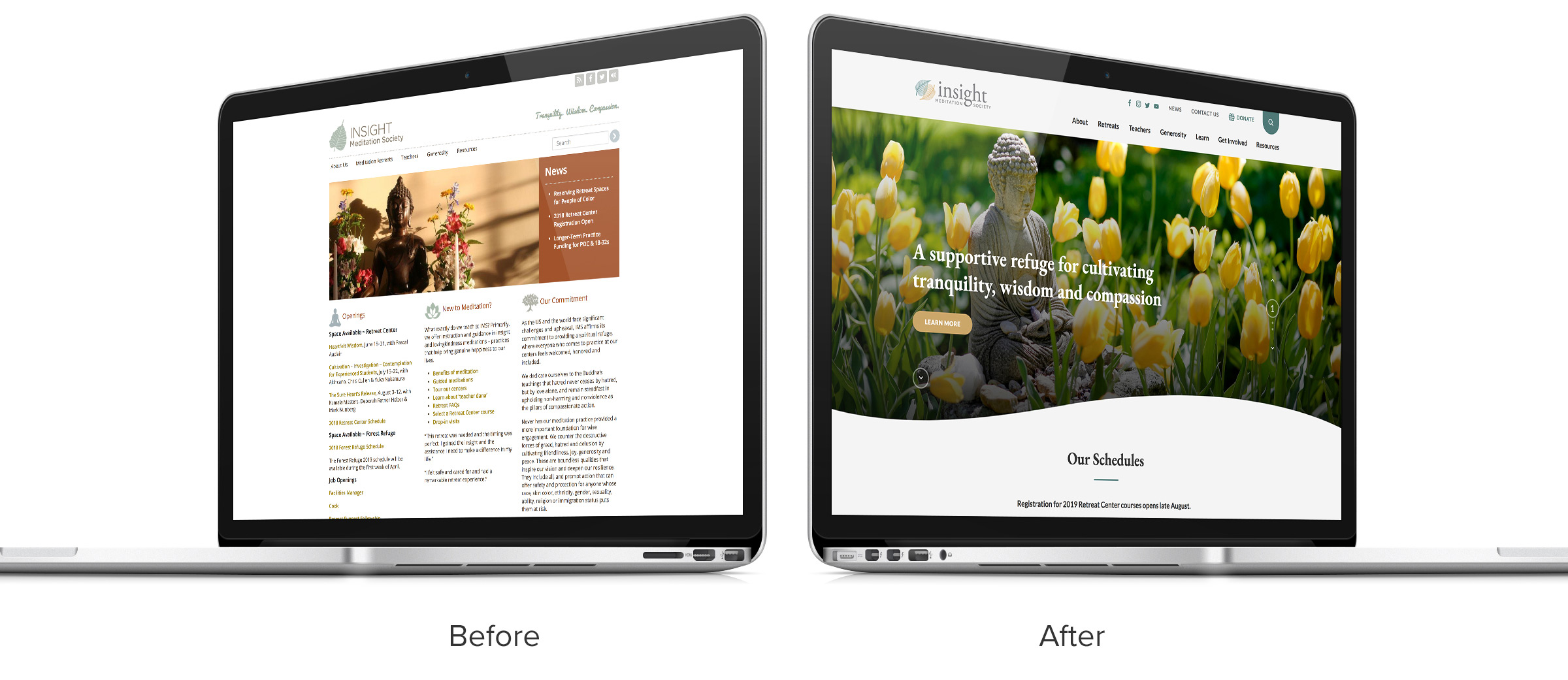 Insight Meditation Society website – before and after comparison