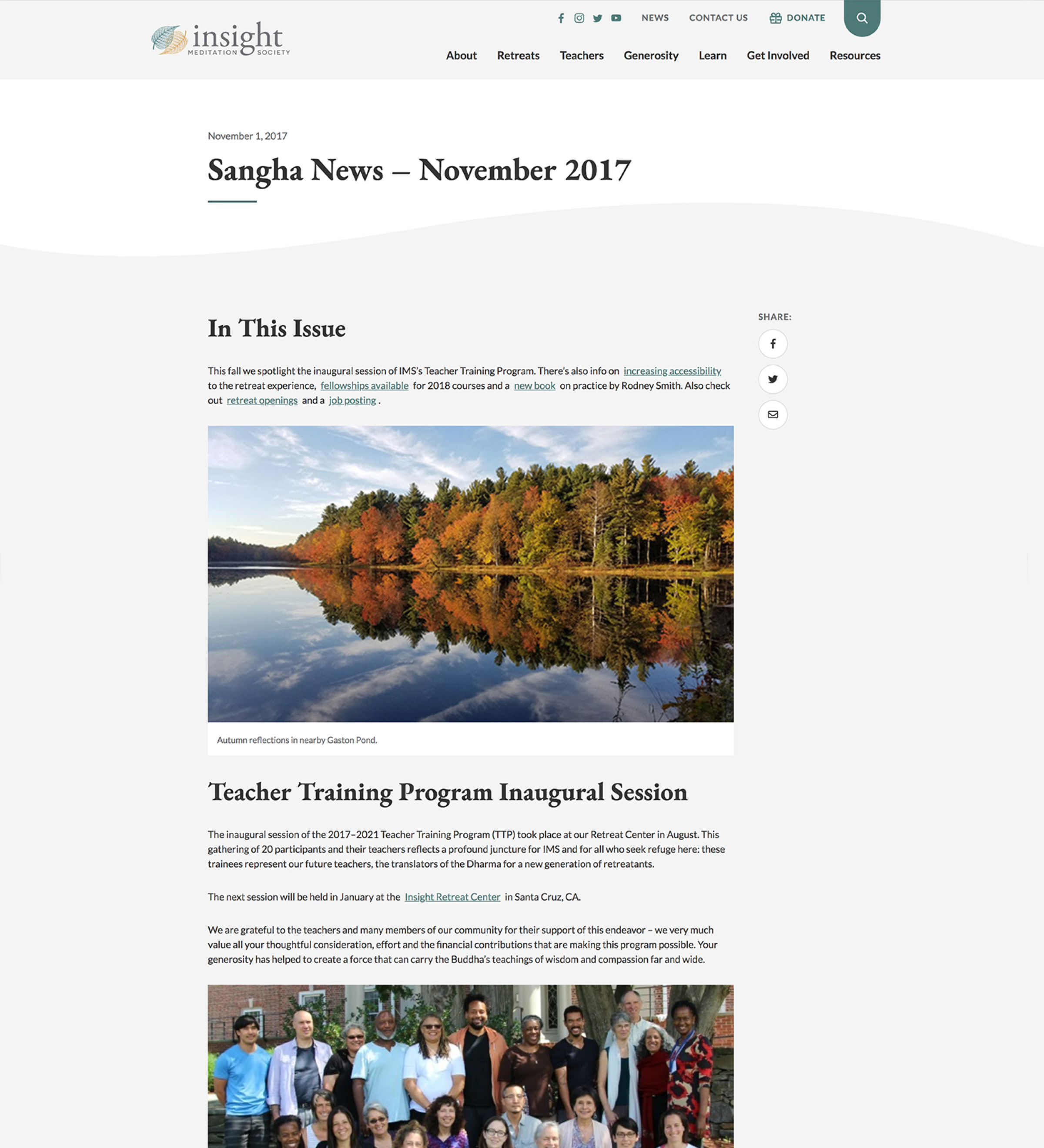 Insight Meditation Society News individual news post