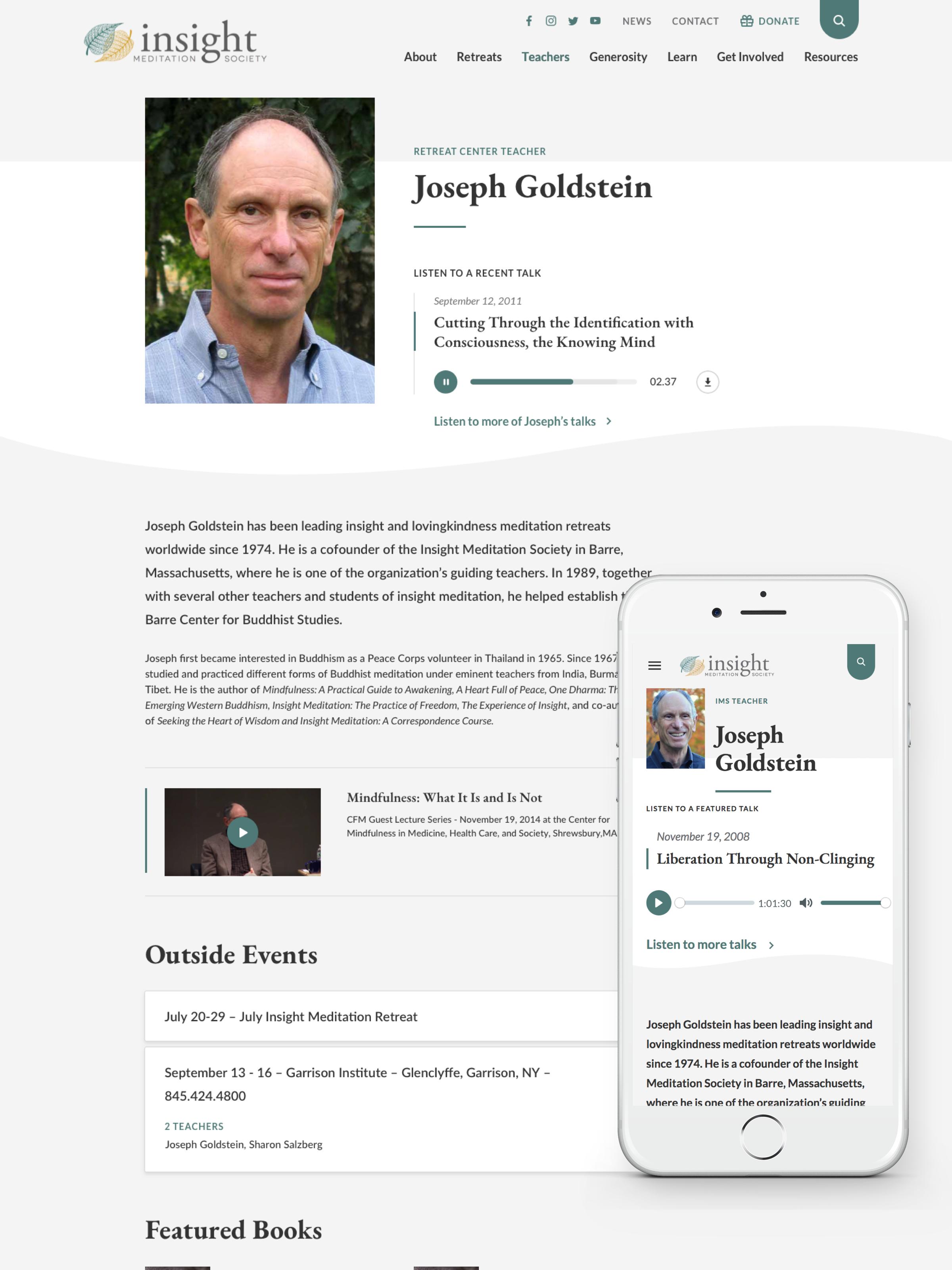 Insight Meditation Society Teacher Profile