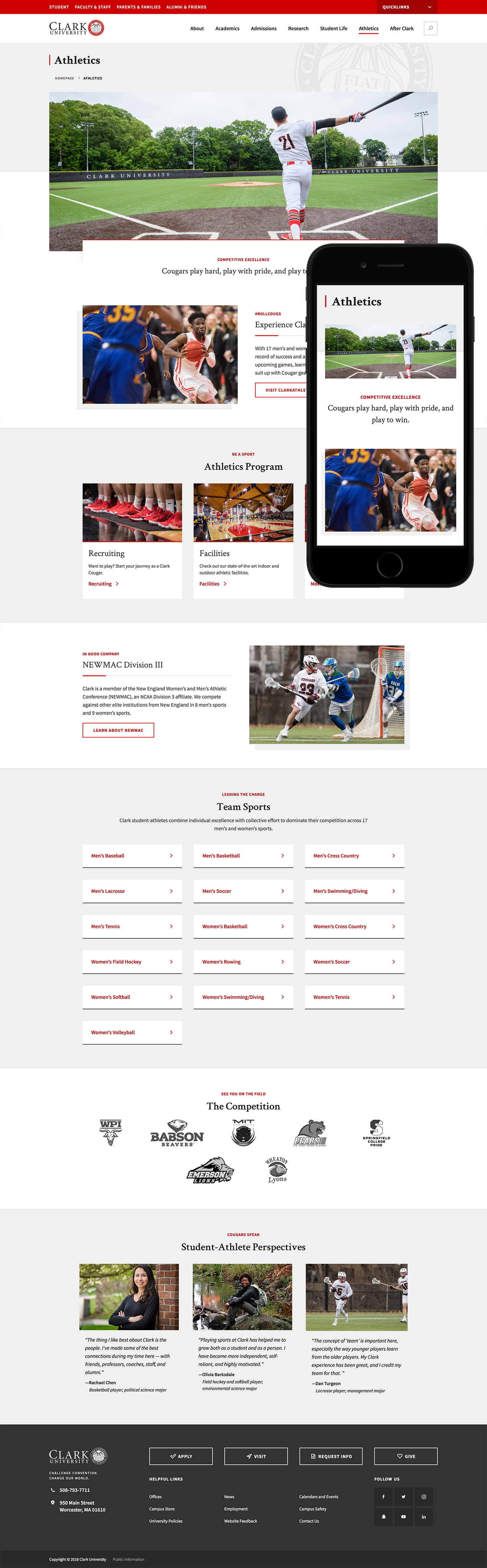 Clark University full athletics page on desktop and mobile
