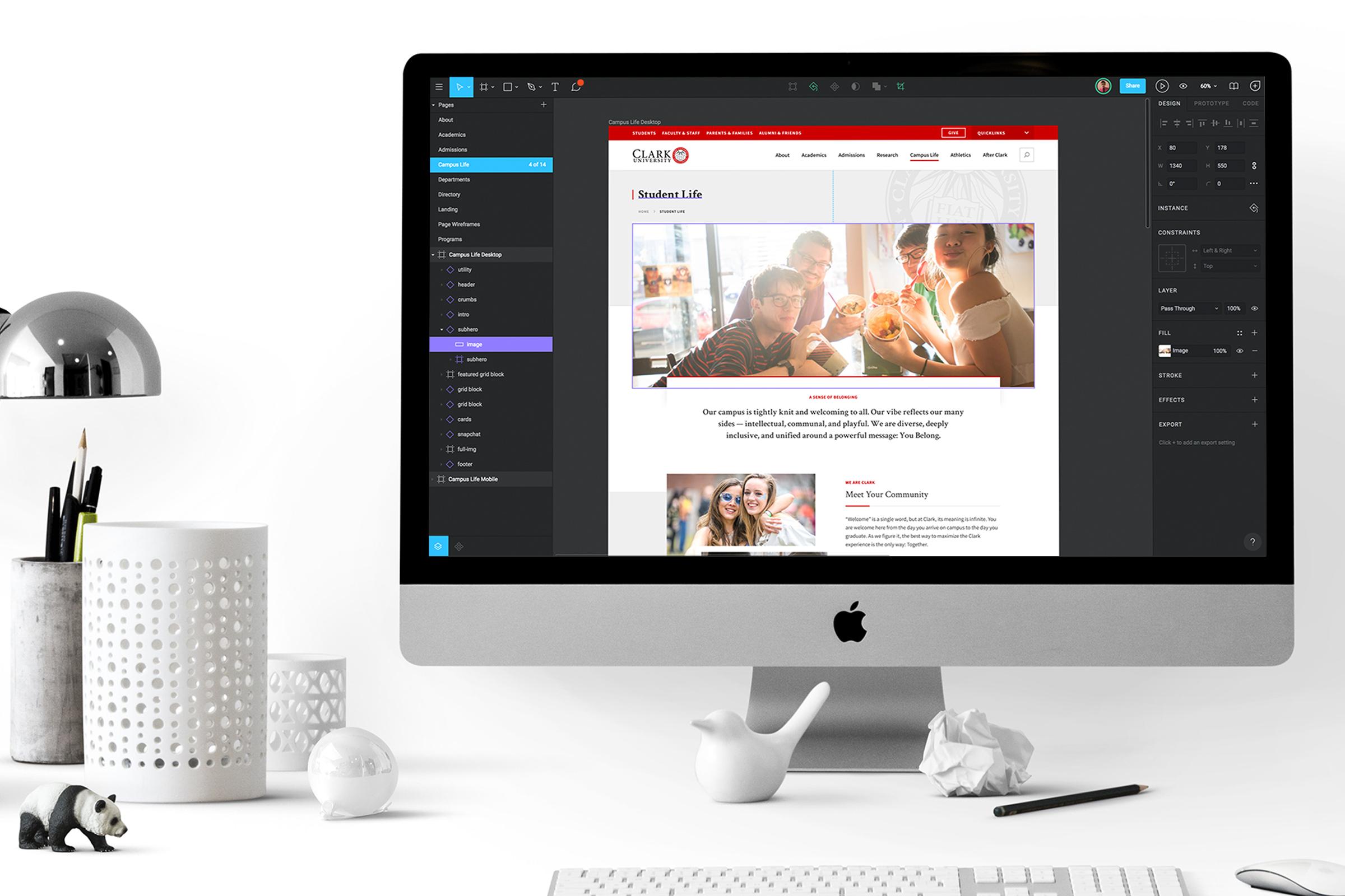 Design phase process of the Clark University website