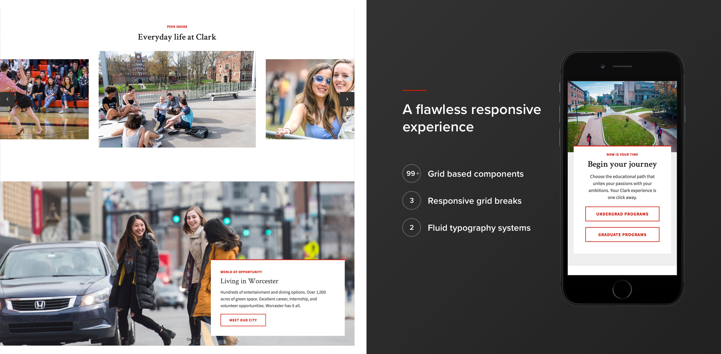 Clark University responsiveness graphic