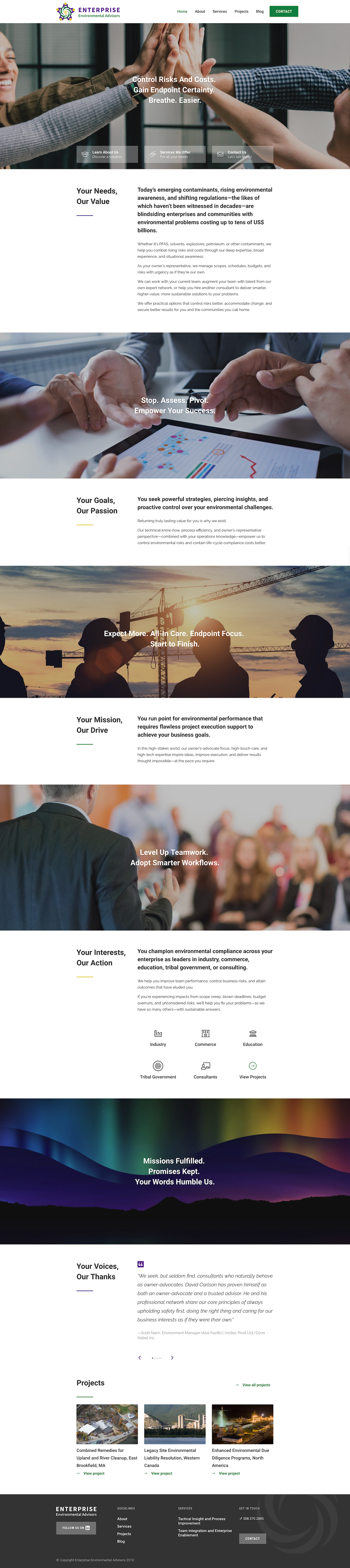 Enterprise Environmental Advisors full landing page