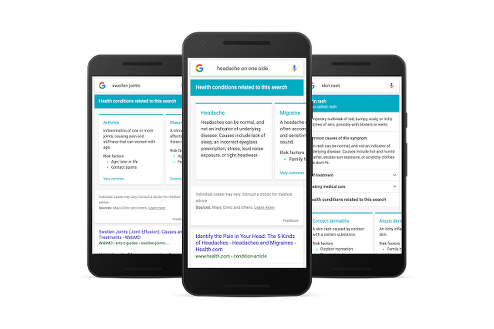 Example healthcare queries on mobile device
