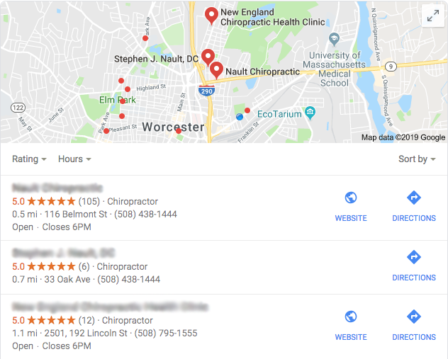 Example of Google's local business pack