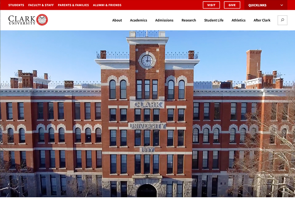 Clark University website homepage on desktop