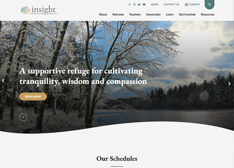Insight Meditation Society website homepage on desktop