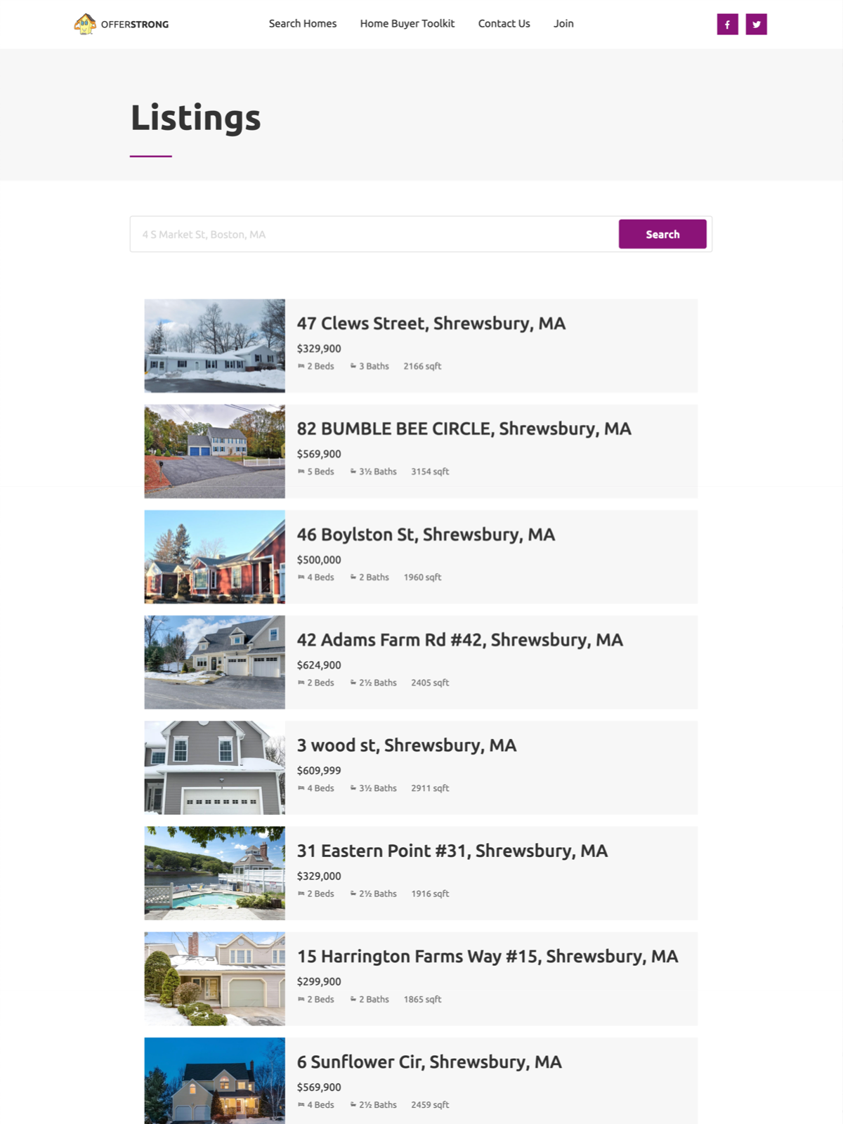 OfferStrong listings page, showing homes within the area