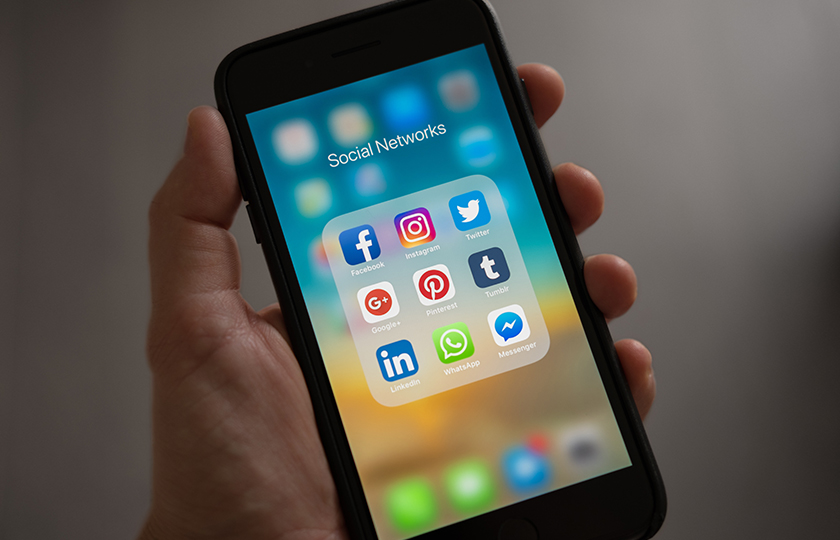 Social media icons on mobile device
