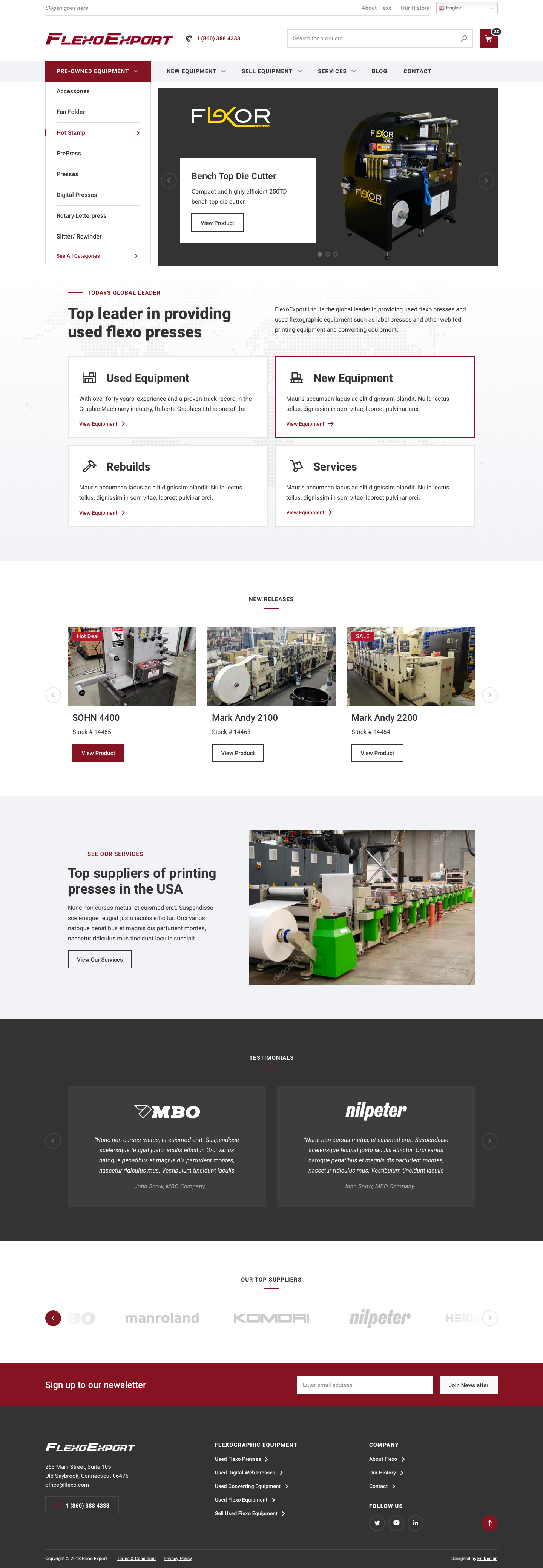 FlexoExport website homepage