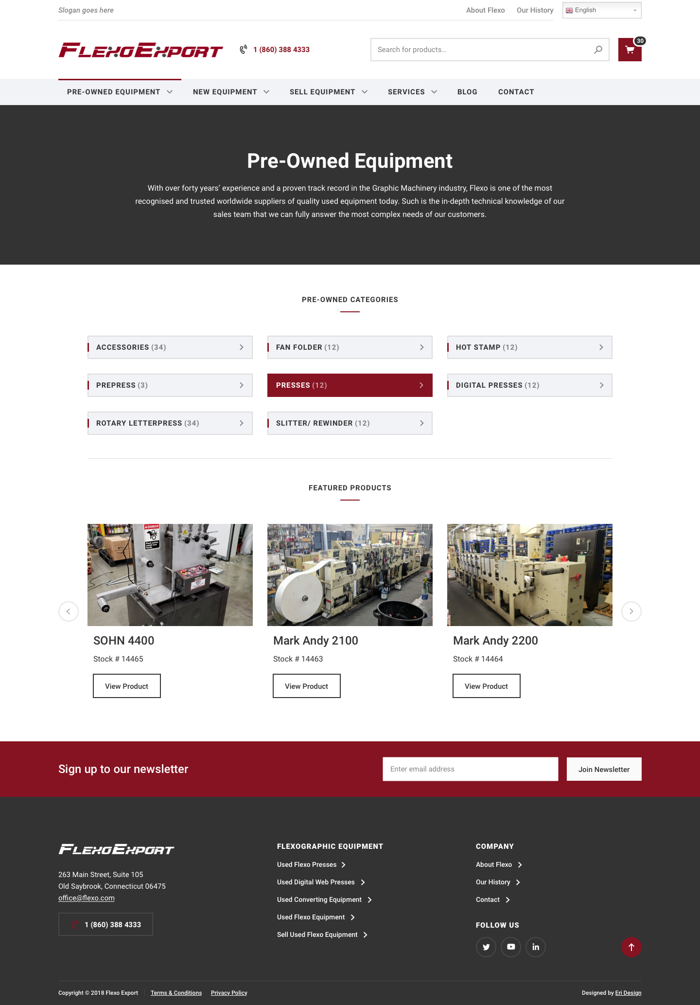 FlexoExport all products landing page design
