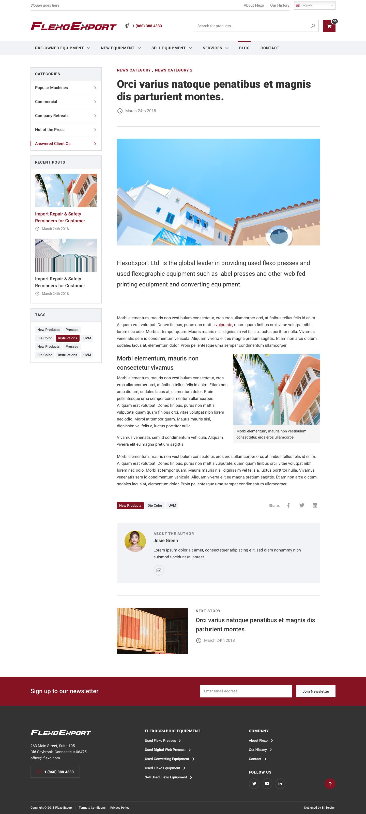 FlexoExport single blog design
