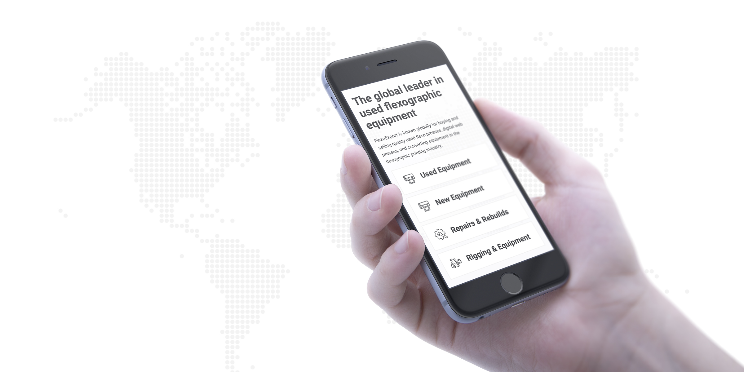 Flexo Export website on mobile device