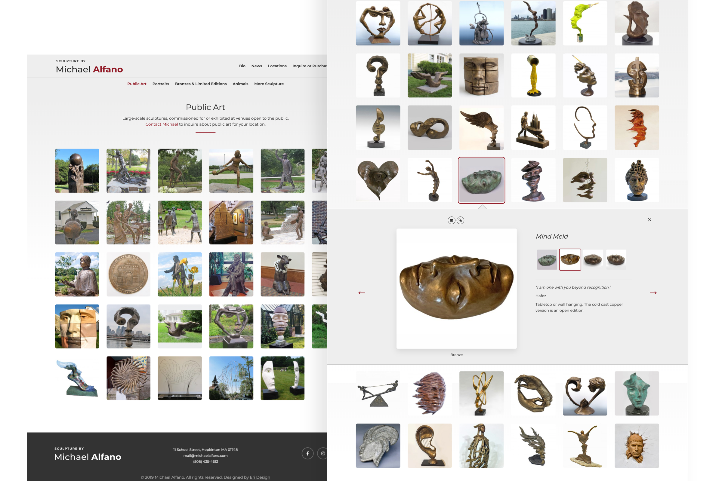 Collage of the different components on Michael Alfano website