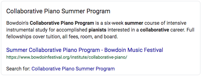 "Featured snippet on Google for the term ""collaborative piano summer programs"""