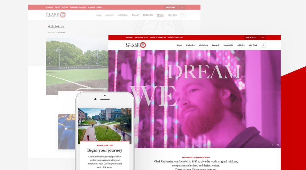 Clark University on desktop and mobile with red accent